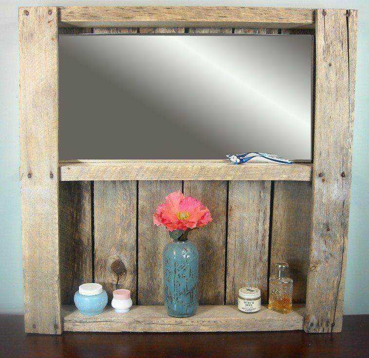 Bathroom Vanities Etsy rustic pallet bathroom mirrored shelf / rustic wine rack