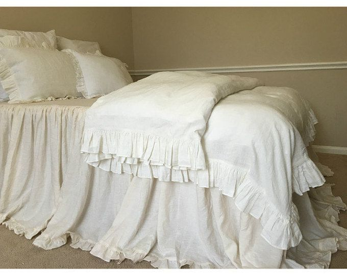 Shabby Chic Linen Duvet Cover With Country Ruffles Linen Etsy Ruffle Duvet Cover Shabby Chic Duvet Shabby Chic Bedding