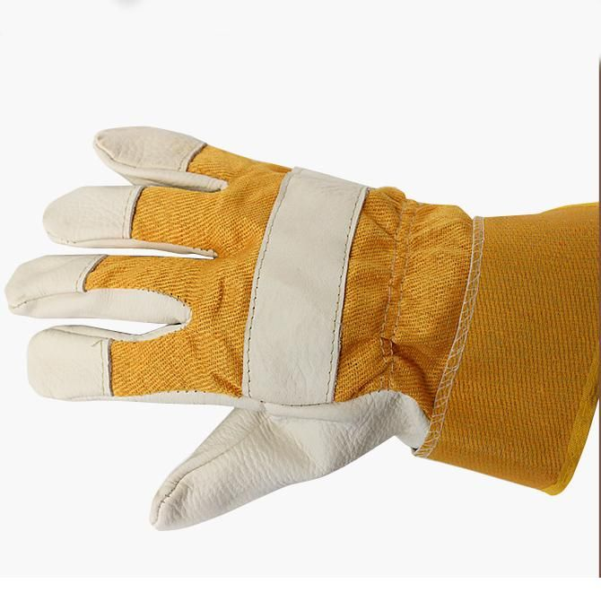 $7.92 (Buy here: http://appdeal.ru/5b9h ) Hot Sale Light Color Labour Protection Glove Welding Pure Leather Welding Gloves Labor Insurance Protection Short Leather Safety for just $7.92