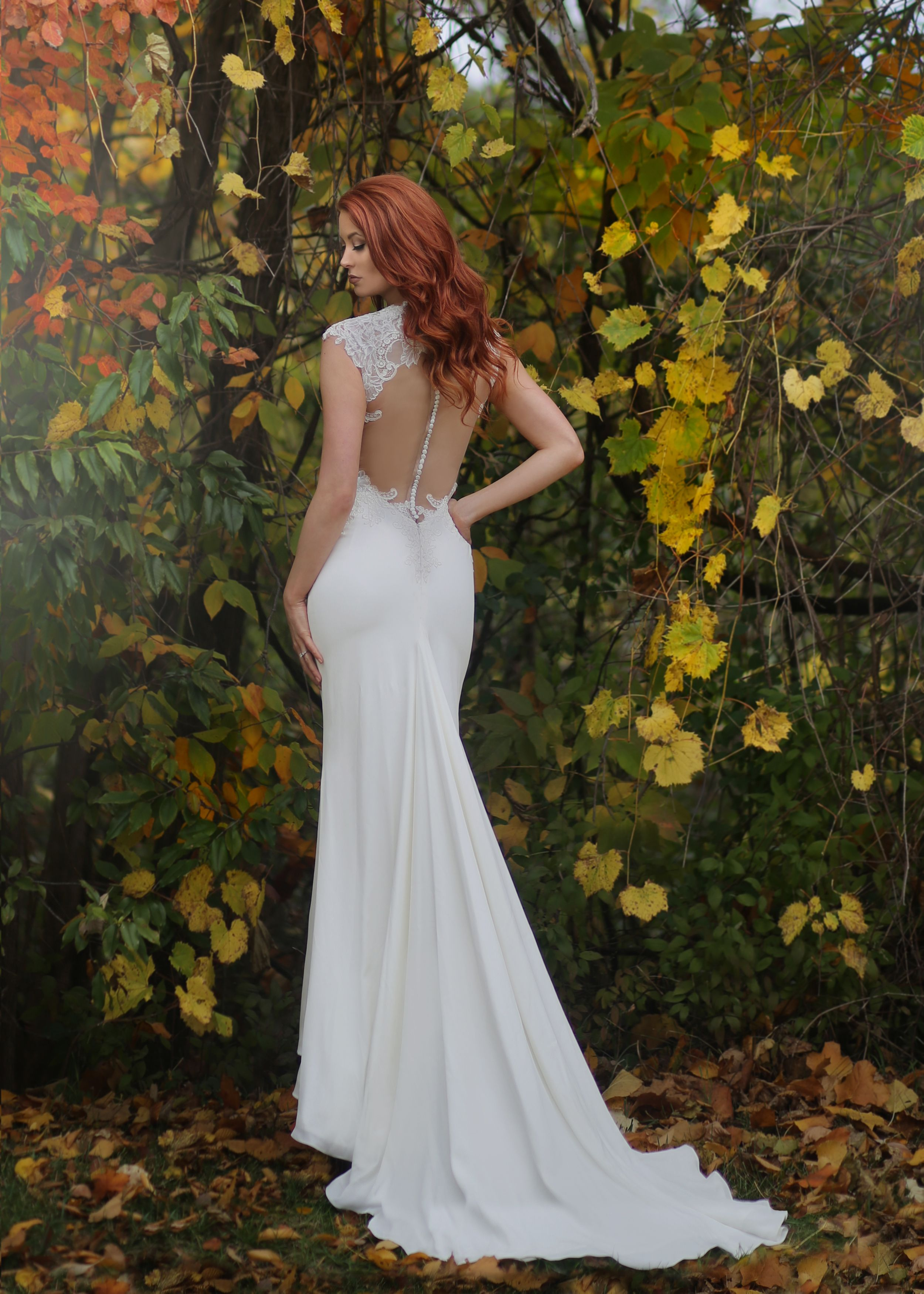 Marisa Bridals lace wedding dress with open back illusion from ...