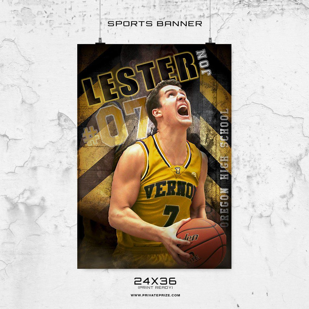LESTER JON - 24X36 -Basketball-Enliven Effects Sports Banner ...