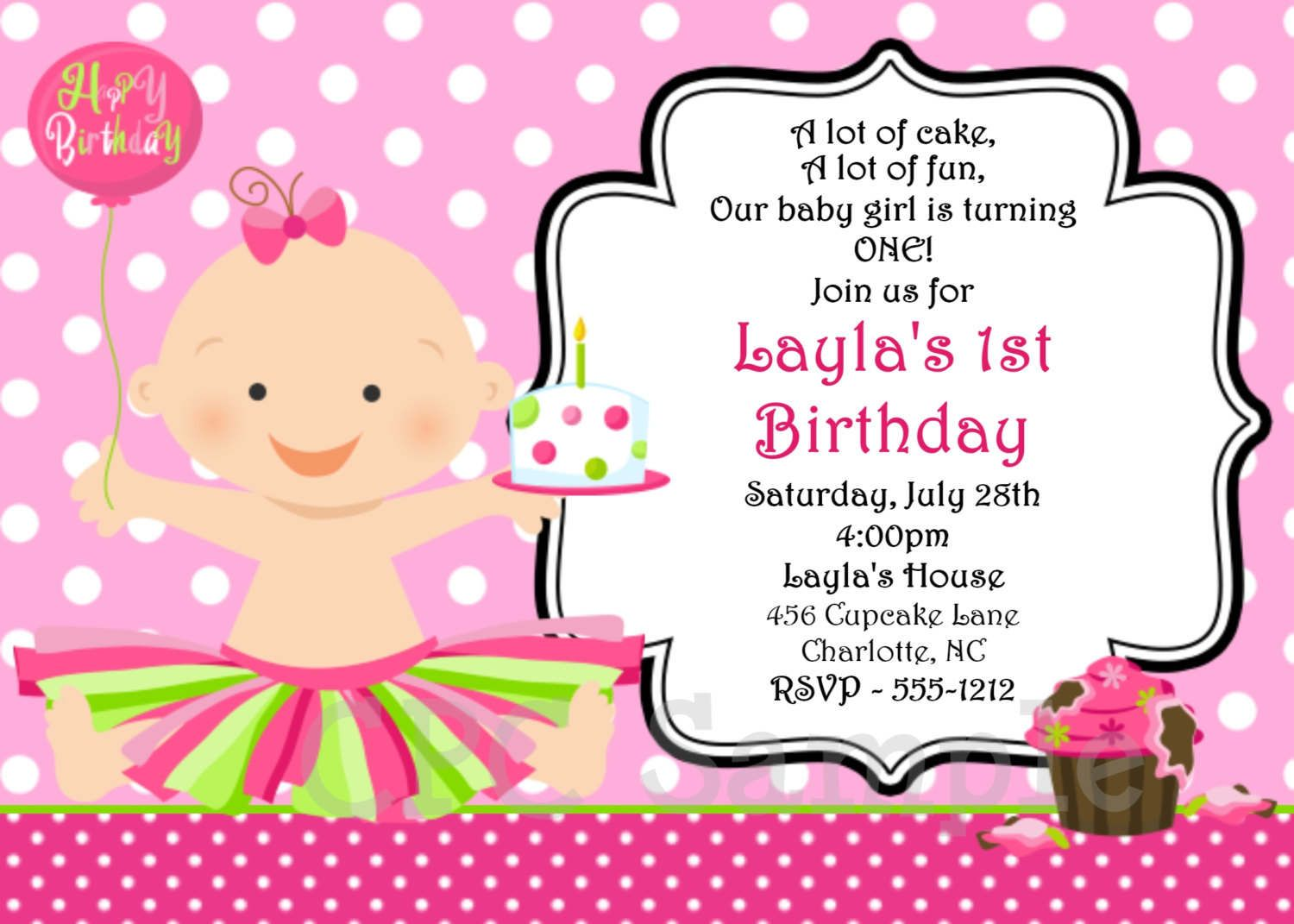 Beautiful Free 1st Birthday Invitation Templates Printable U2013 InviteTown Intended Birthday Invitation Samples
