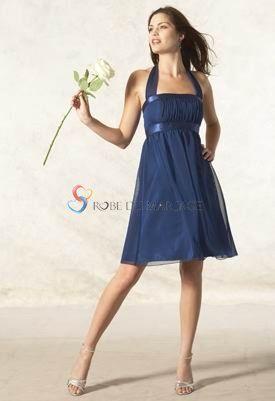 Bleue bretelle au cou courte mousseline de soie robe for Robes de demoiselle d honneur mariage marine