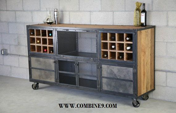 Liquor Cabinet Bar Vintage Urban Modern Design Reclaimed Wood Top Steel Custom Configurations Sideboard Buffet Loft