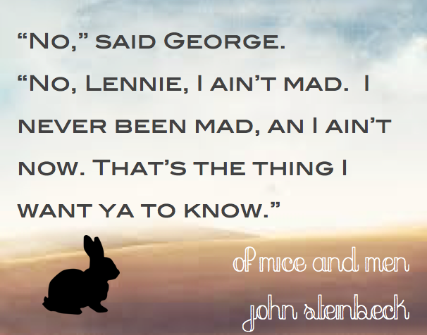 Of Mice And Men Quotes Inspiration Bestloved Literary Quotes Of Mice And Men John Steinbeck  Quotes