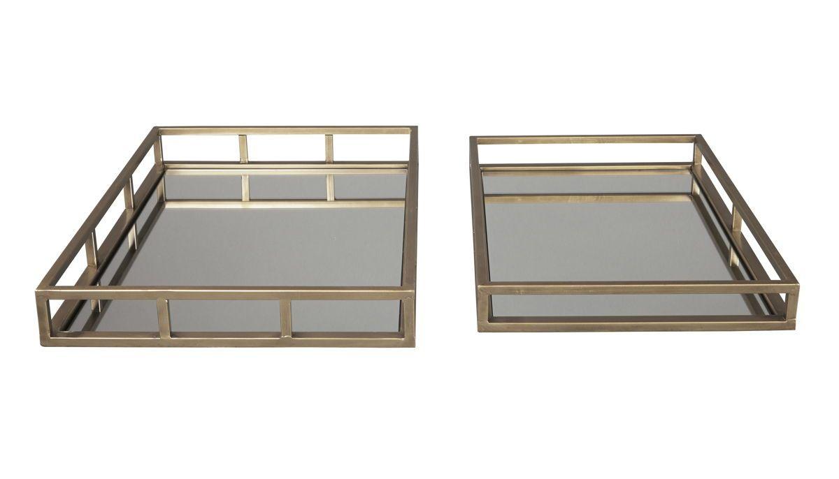 2 Ocie Contemporary Antique Gold Metal Rectangle Trays