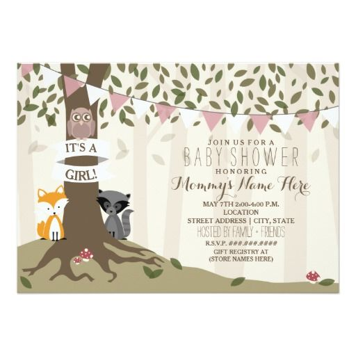 woodland creatures baby shower - girl card | babies, woodland, Baby shower invitations