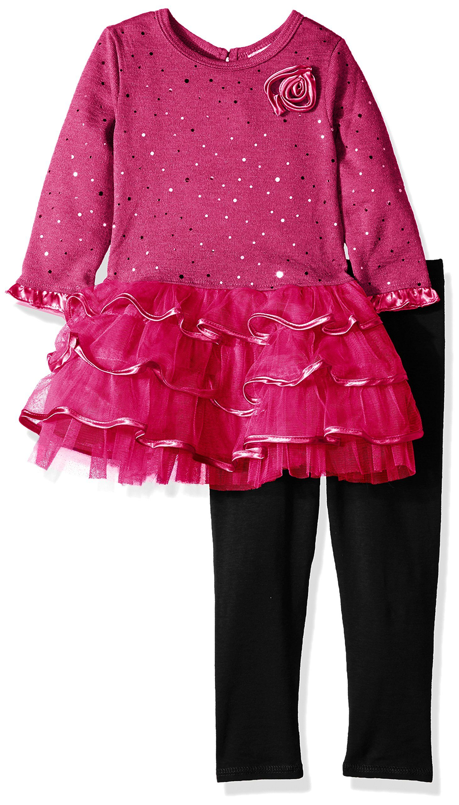 Youngland Girls' Sparkle Brushed Sweater Knit and Mesh Tiered Dress, #Ad #Sparkle, #Brushed, #Youngland, #Girls