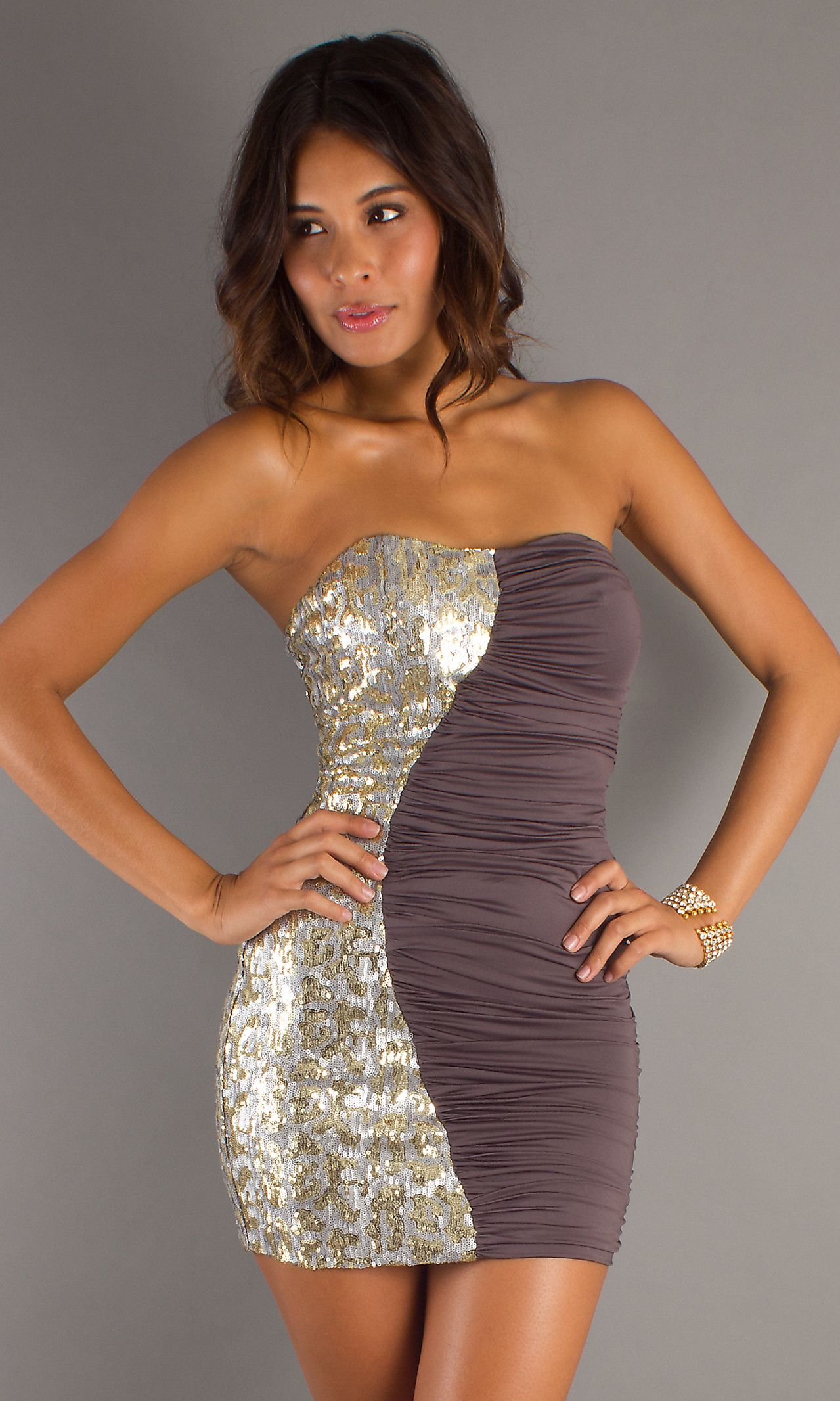 Strapless dress with sequins on one side and ruched fabric on the other