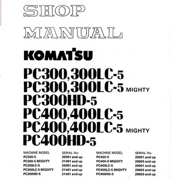 Komatsu PC300-5, PC300LC-5, PC300-5, PC300LC-5 Mighty