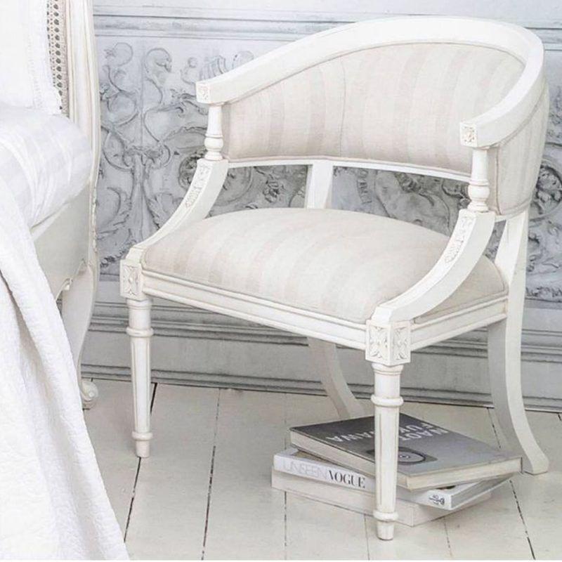 Antique White Upholstered Chair Dengan Gambar