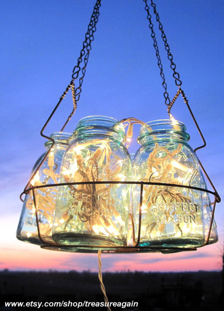Antique lights mason jar chandelier 6 blue quart ball canning jar antique lights mason jar chandelier 6 blue quart ball canning jar basket upcycled hanging mason jar lighting wedding lighting garden party aloadofball Gallery