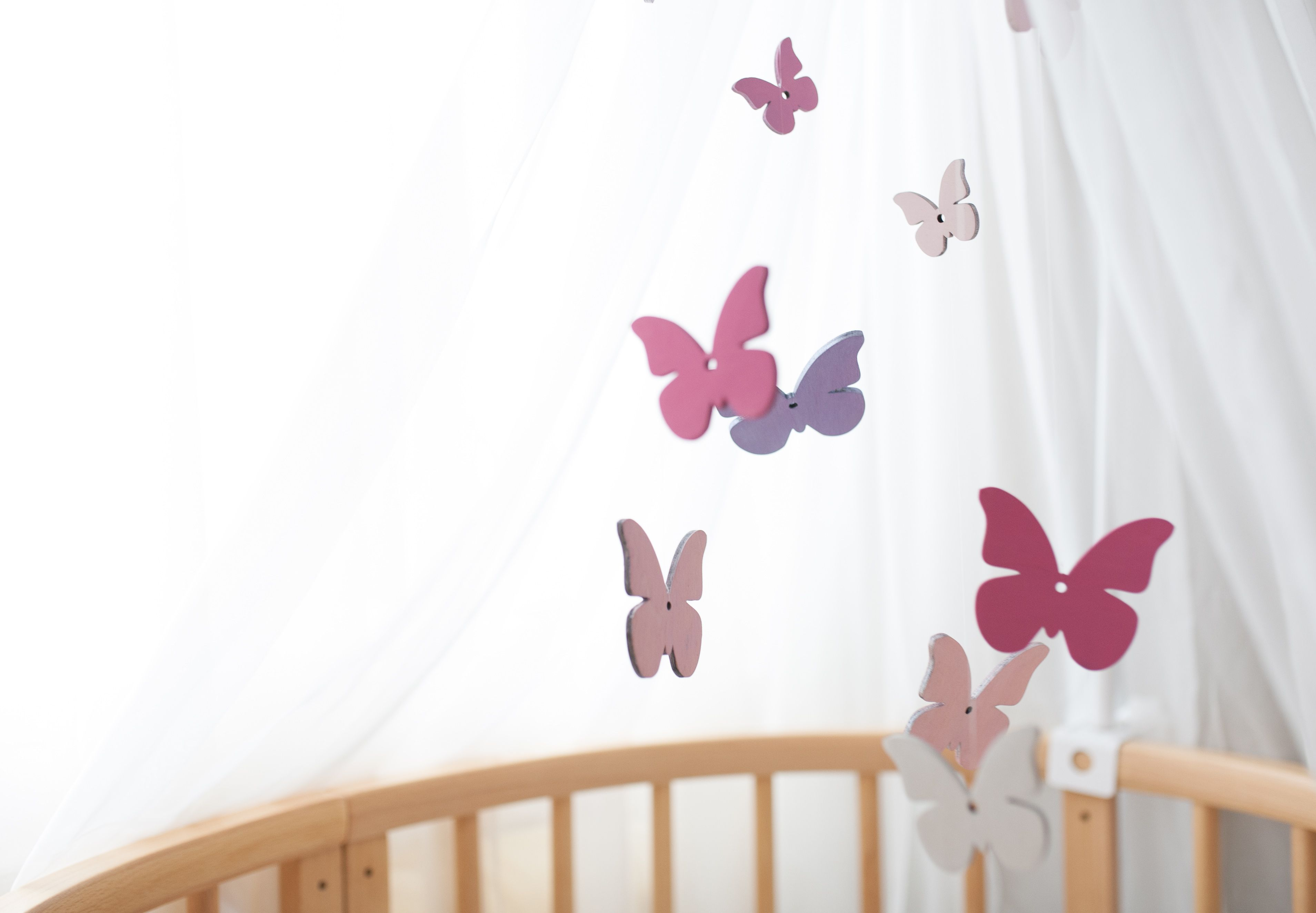 Wooden Baby Mobile Baby Mobile Girl Butterfly Mobile Pink Crib Mobile Pink Baby