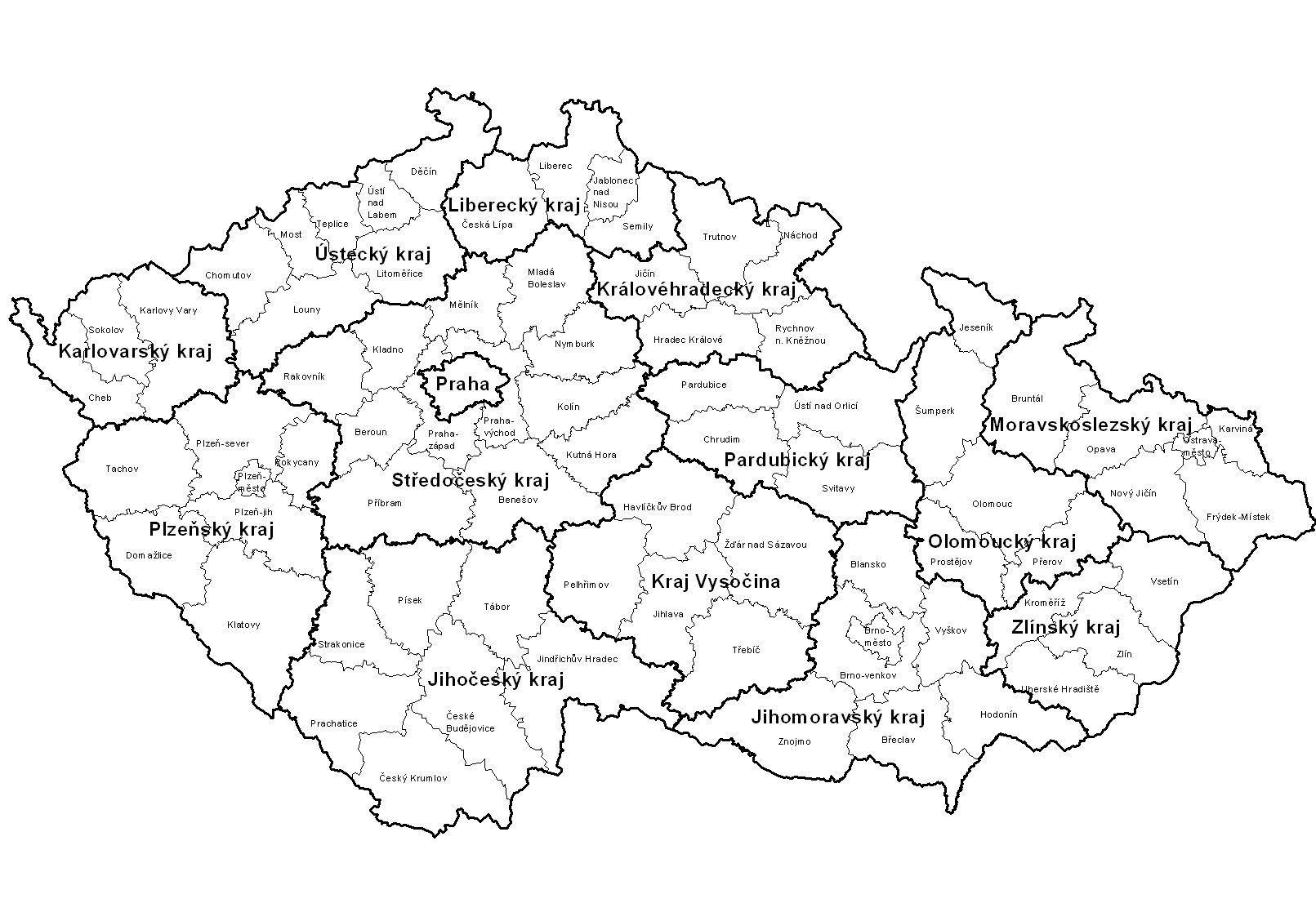 Mapa Kraju Cr Mapa Cr Ceske Republiky Uceni Zemepis