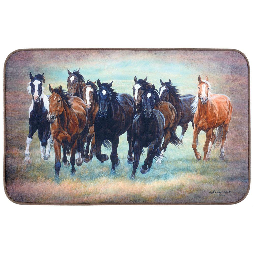 Wild Horses Comfort Floor Mat Memory Foam Bath Mats Horse Memory Foam Bath Mats