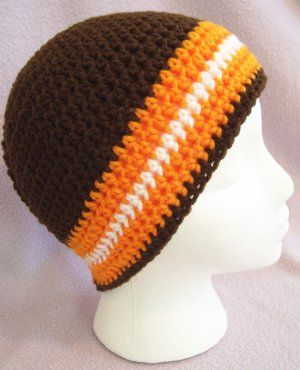 best website 086a7 5989d ... where to buy brown orange white cleveland browns beanie hat in crochet  4a06b 631a5