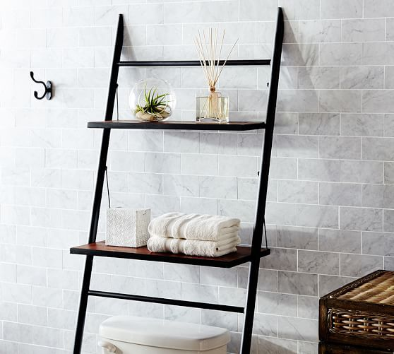 Rustic Over The Toilet Etagere Small Bathroom Storage Solutions