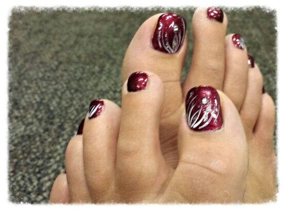 Burgundy With Silver And Diamond Pretty For Fall Pedicure Fall Pedicure Toe Nail Color Posh Nails