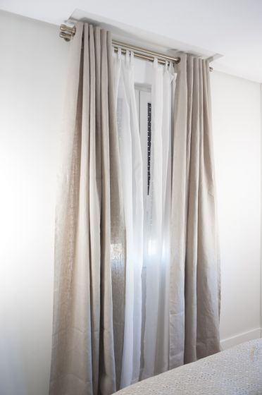 White sheet and linen blackout curtains for master bedroom - Blackout curtains for master bedroom ...