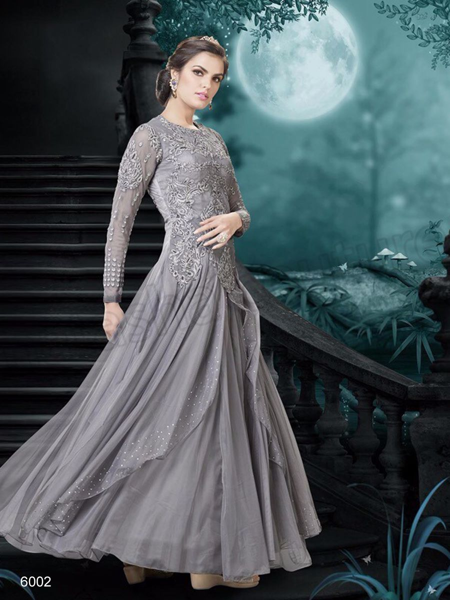7f34474553 #Designer Gowns#Grey Net Gown #Indian Wear#Desi Fashion #Natasha Couture  #Indian Ethnic Wear #Bridal Wear #Wedding Wear#Online