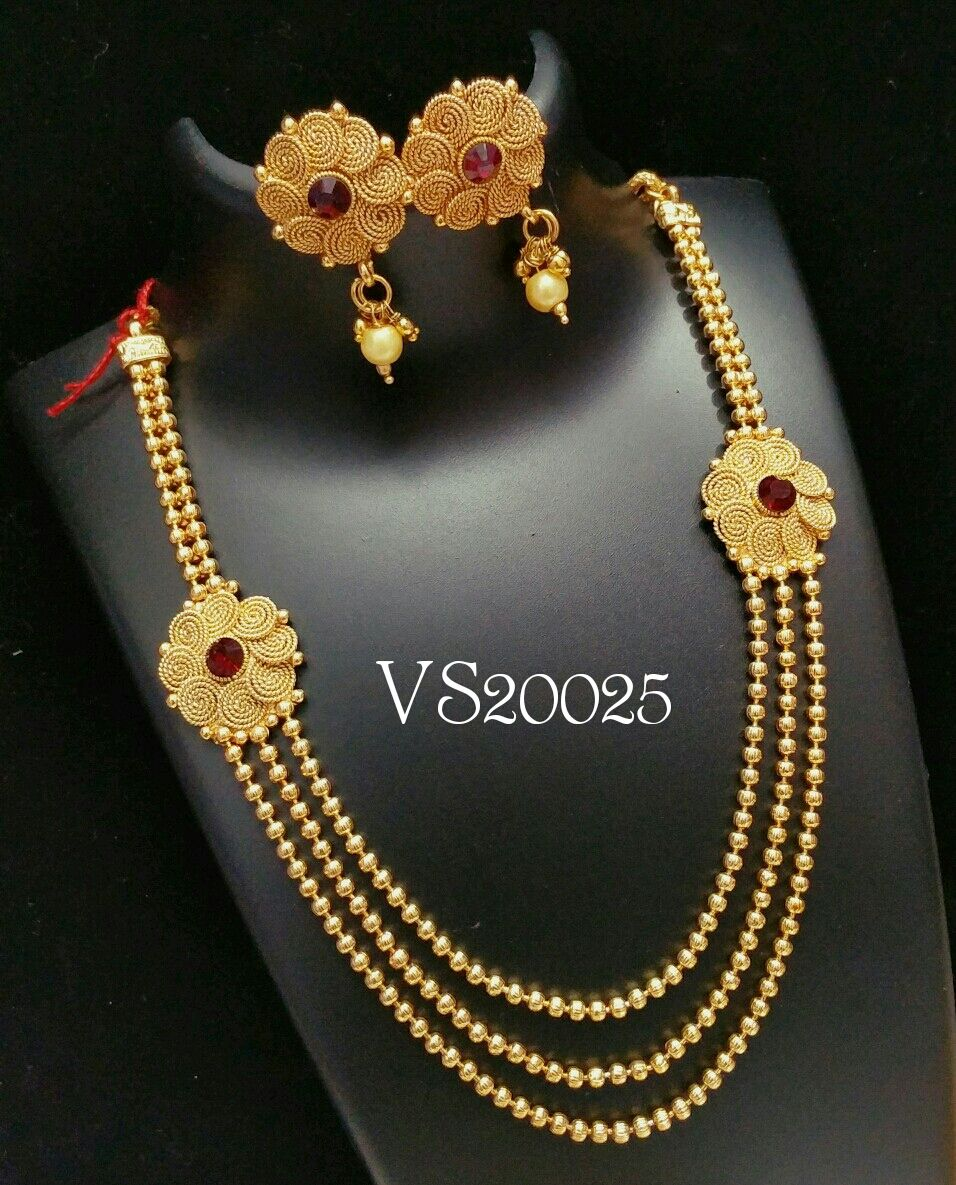 indian jewellery designer long floral necklace earrings set antique ...