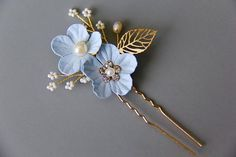 Something Blue Flower Bridal hairpiece bridal hair comb flower hair comb rhinestone hairpiece rhinestone hair comb wedding hairpiece
