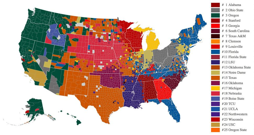 Facebook Data Now Give Us The Best Map Of College Football Fandom - Map of all colleges in the us