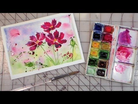Watercolor Video Tutorial Cosmos Comment Peindre Des Fleurs