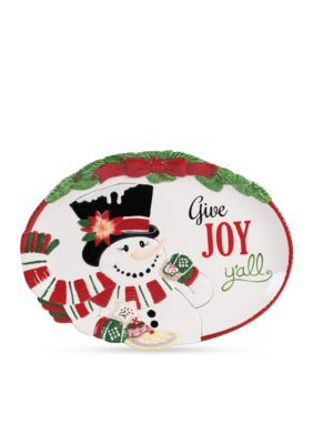 Fitz and Floyd  Top Hat Frosty Give Joy Tray