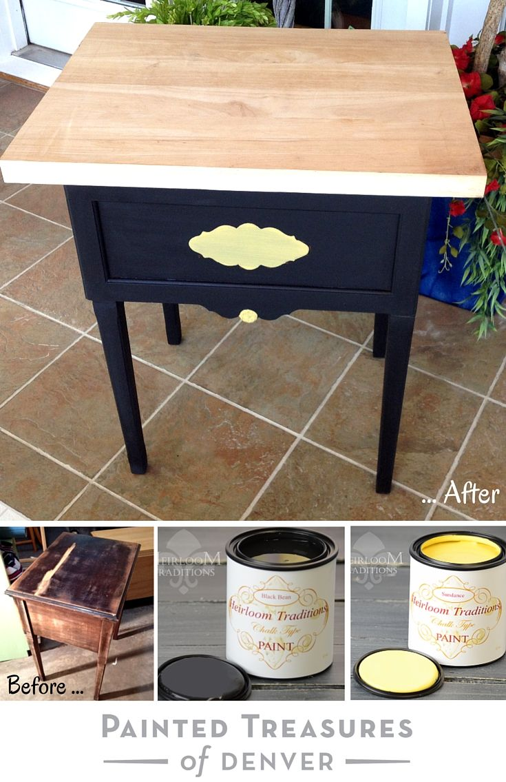 I painted this cute side table with heirloom traditionus black bean