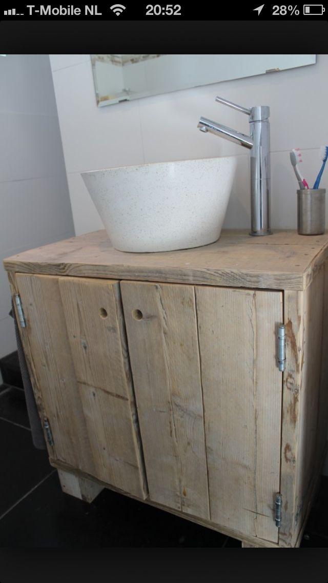 Steigerhout badkamermeubel   Badkamer   Pinterest   Pallets, Sinks ...