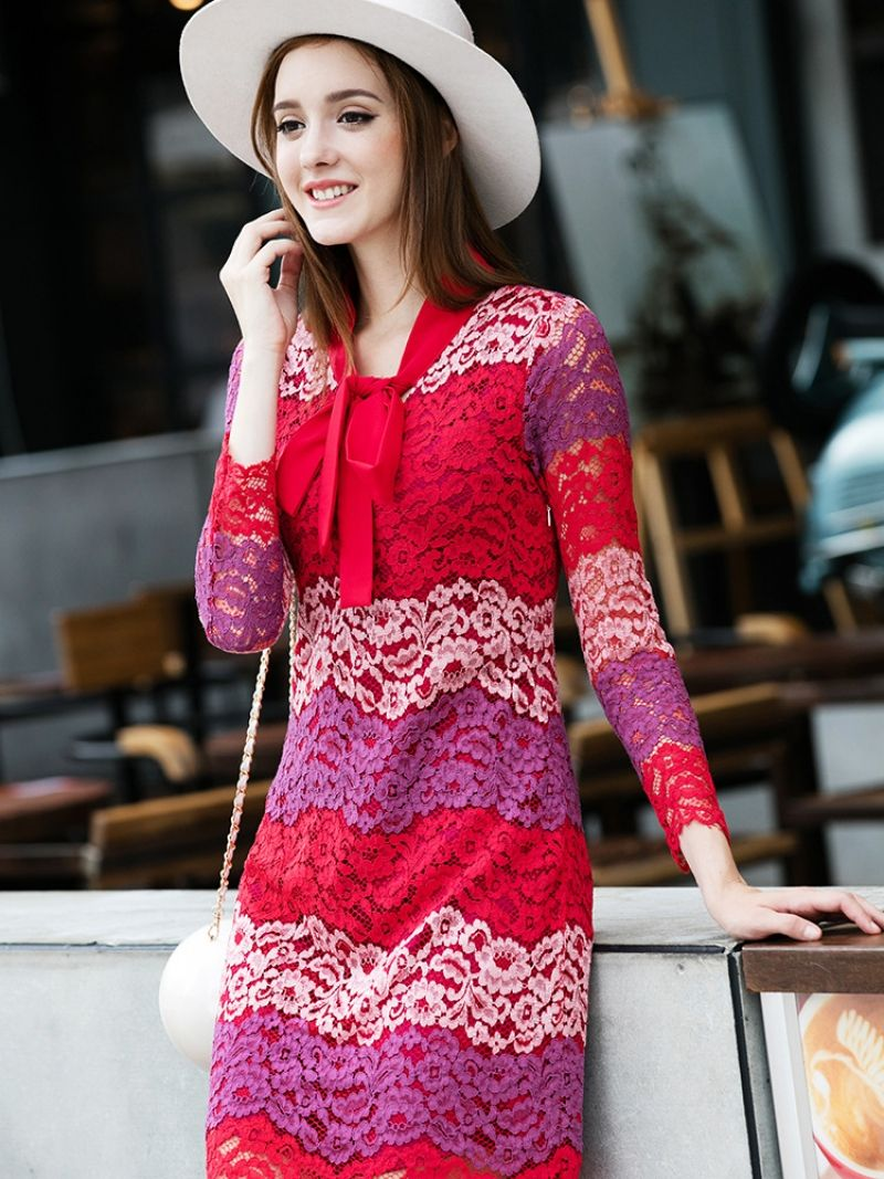 Buy Multicolor Round Neck Long Sleeve Bow-Tie Lace Dress from abaday.com, FREE shipping Worldwide - Fashion Clothing, Latest Street Fashion At Abaday.com