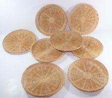 Set of 8 Vintage Natural Wood Wicker/rattan Paper Plate Holders 9  & Set of 8 Vintage Natural Wood Wicker/rattan Paper Plate Holders 9 ...