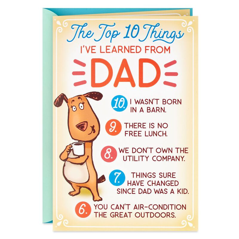 Funny Top 10 Birthday Card for Dad With Button Pin in 2020