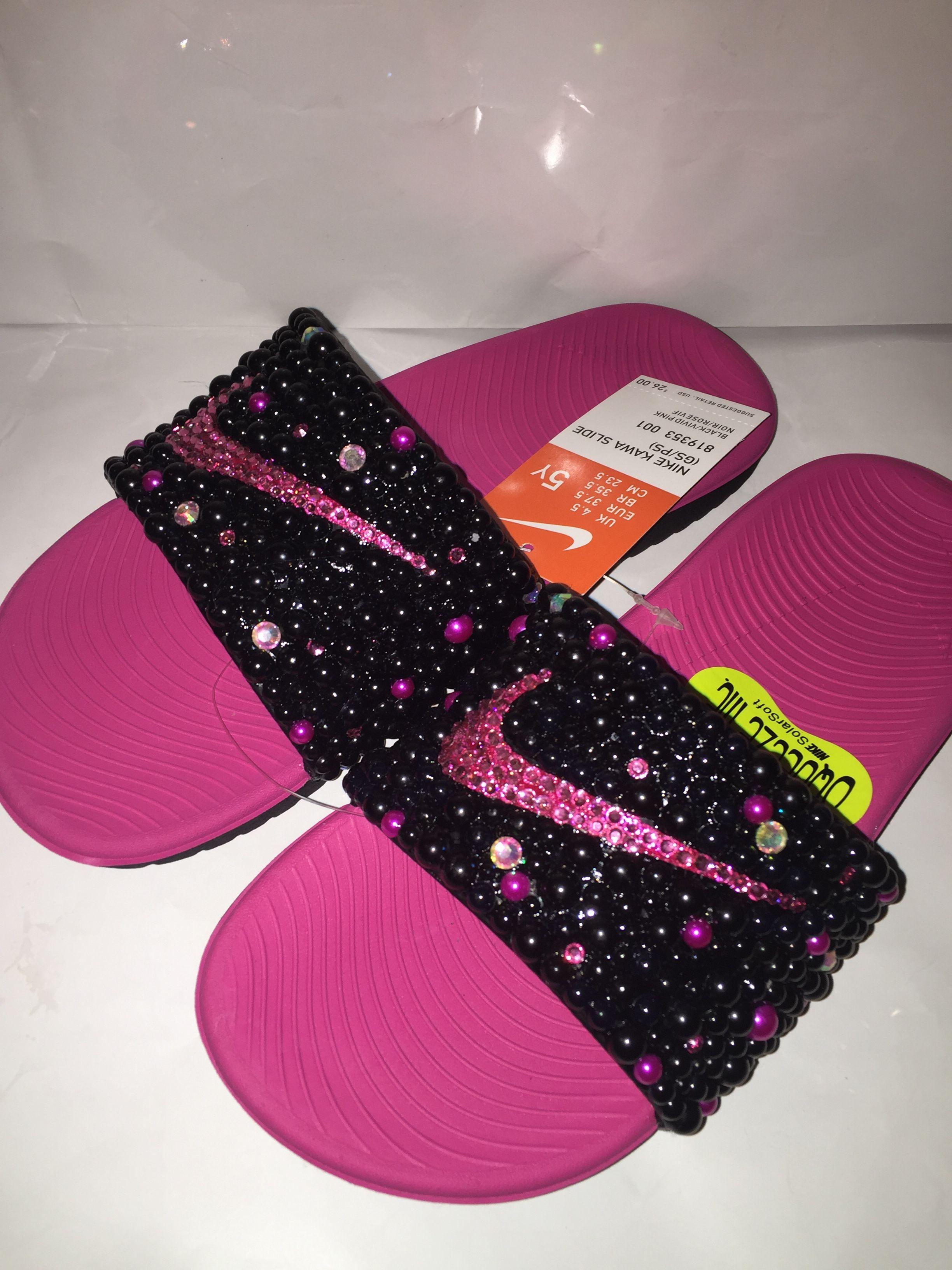 Custom Bling Nike Flip Flop Slides Benassi JDI slides