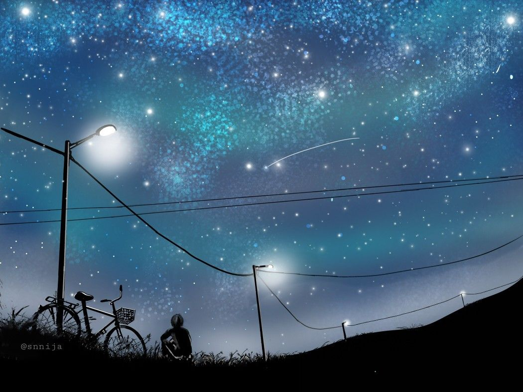 Anime boy sitting alone watching stars with images