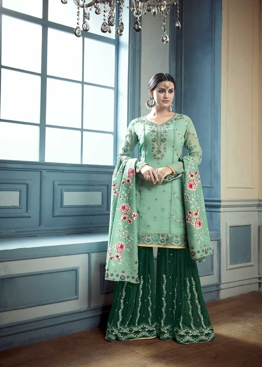 034c7b683 This Lovely Green Color Heavy Fuax Georgette Embroidered Salwar Kameez has  a beautiful embroidered and is