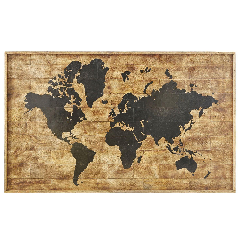 Deco Murale Imprime Carte Du Monde En Manguier 140x87 Deco