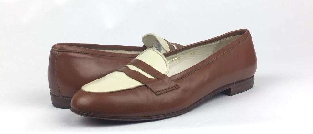 bb0a71bc4ee Ralph Lauren Womens Two Tone White Brown Dress Penny Loafers Size 7.5B  600   fashion  clothing  shoes  accessories  womensshoes  flats (ebay link)