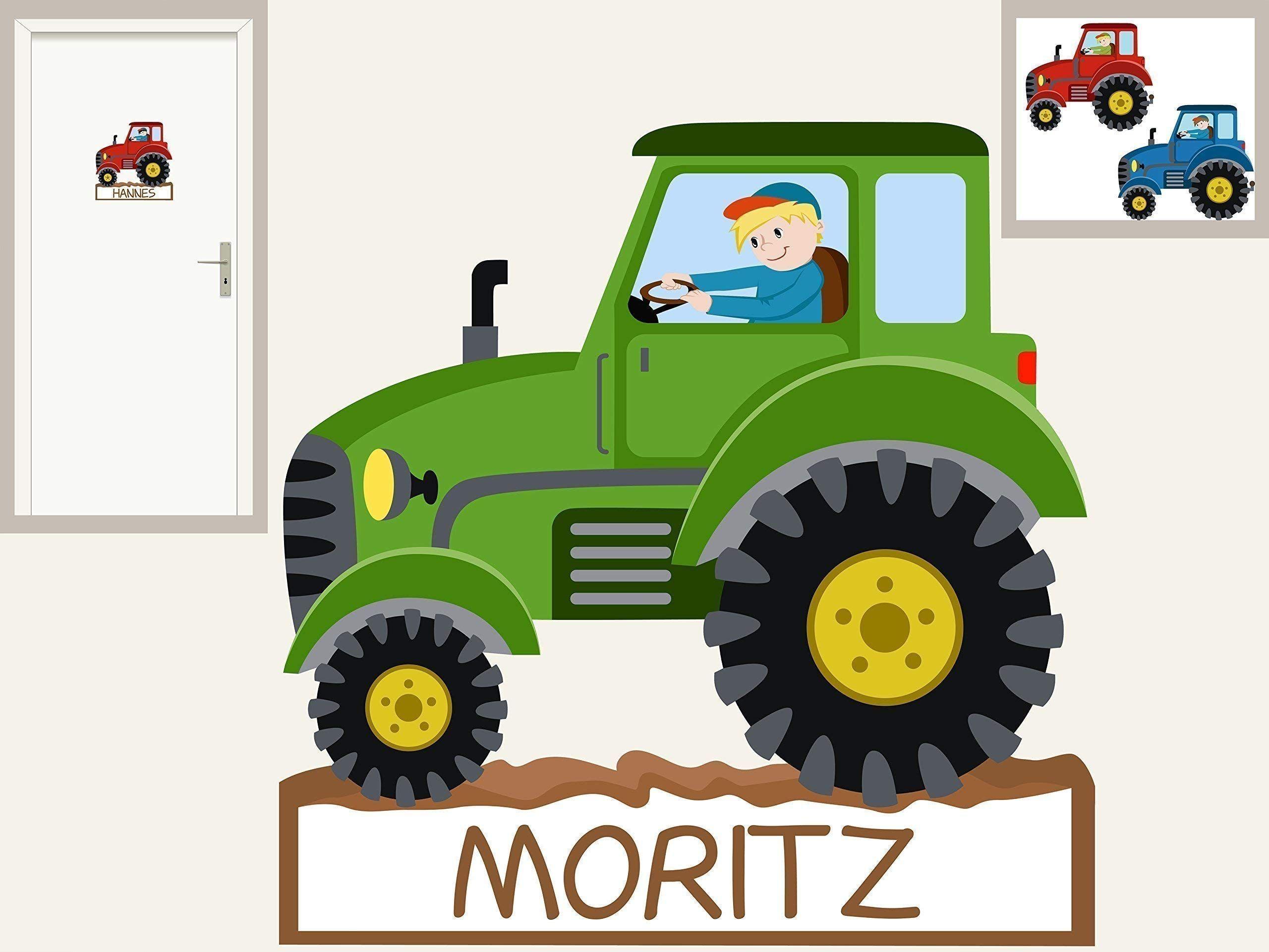 T Rschild Traktor I Personalisierbarer Aufkleber Wandtattoo F R