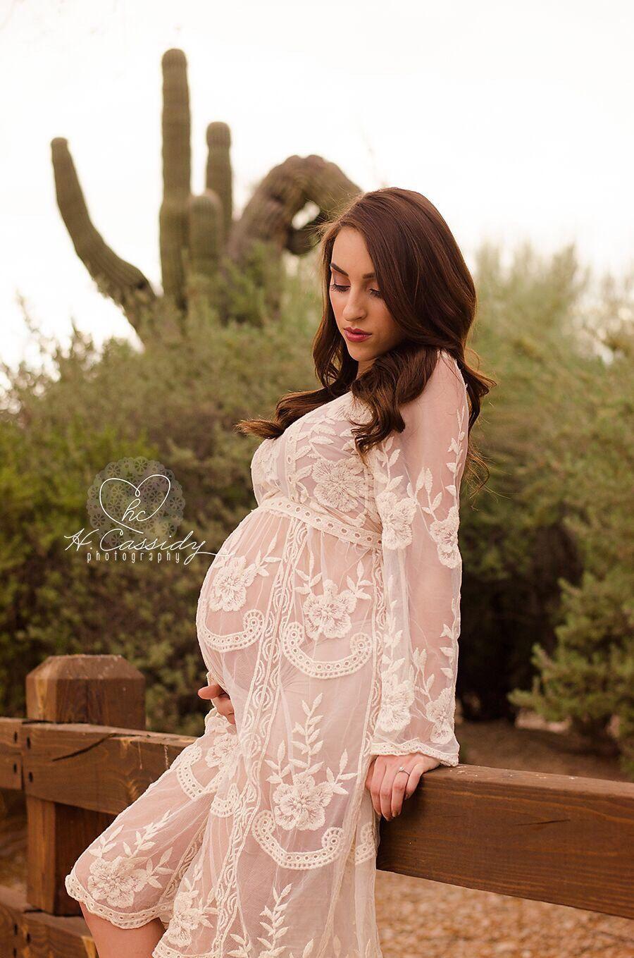 98528b50e6f RTS Knee Length Beige Maternity Dress, Beige Lace Maternity Gown, Lace  Maternity Dress,