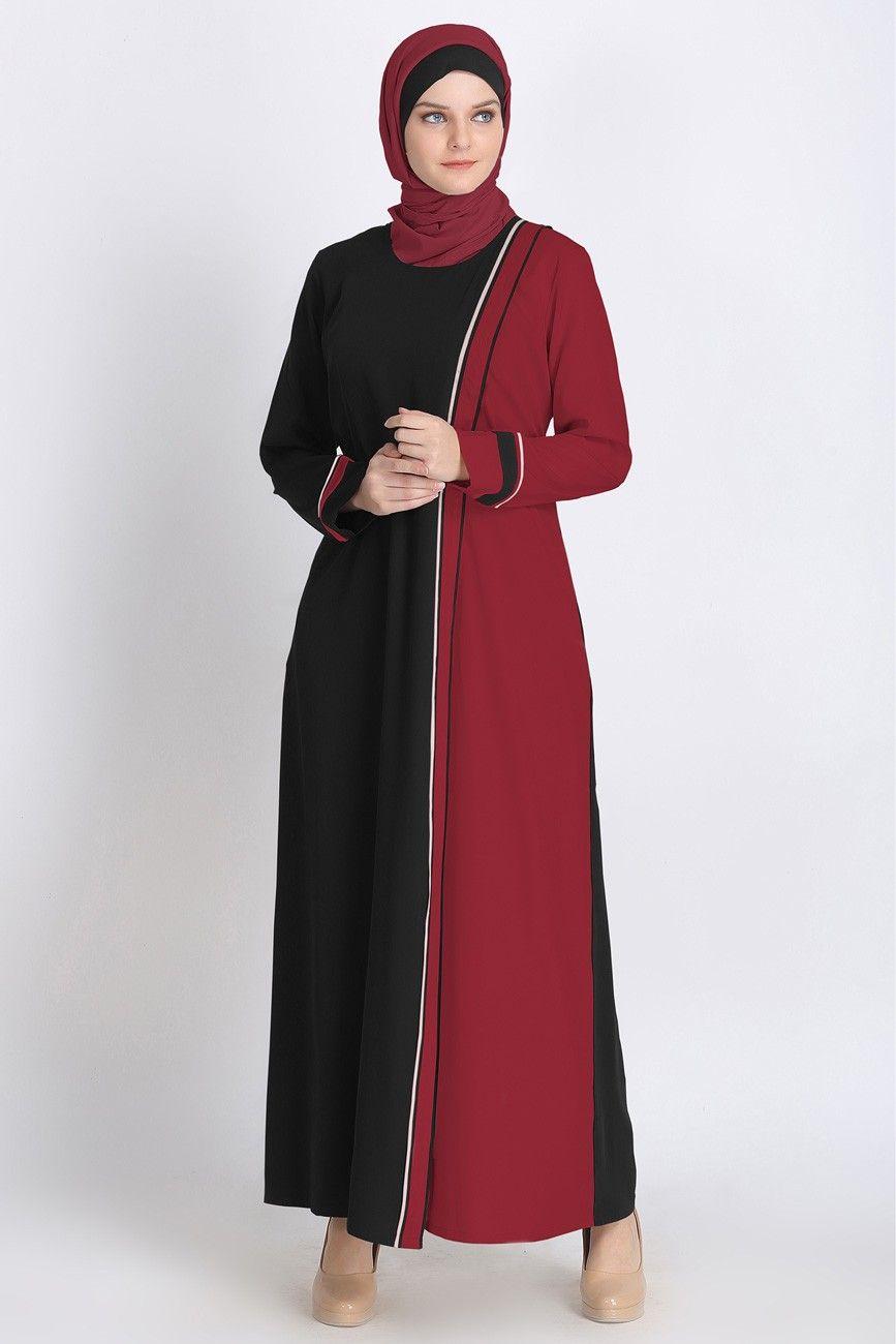 Shazia Open Abaya Maroon Dress for Modern Muslim Ladies  Abaya