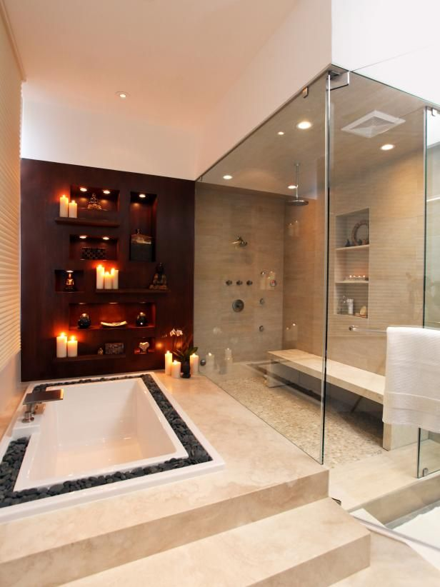 Contemporary Luxe Bathroom | Sunken tub, Double vanity and Hgtv