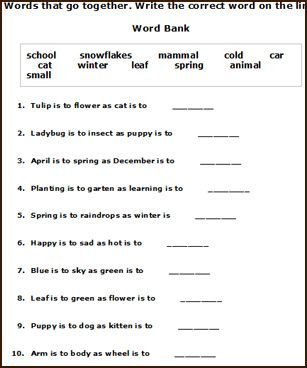 Free printable spring English worksheets for young children to ...