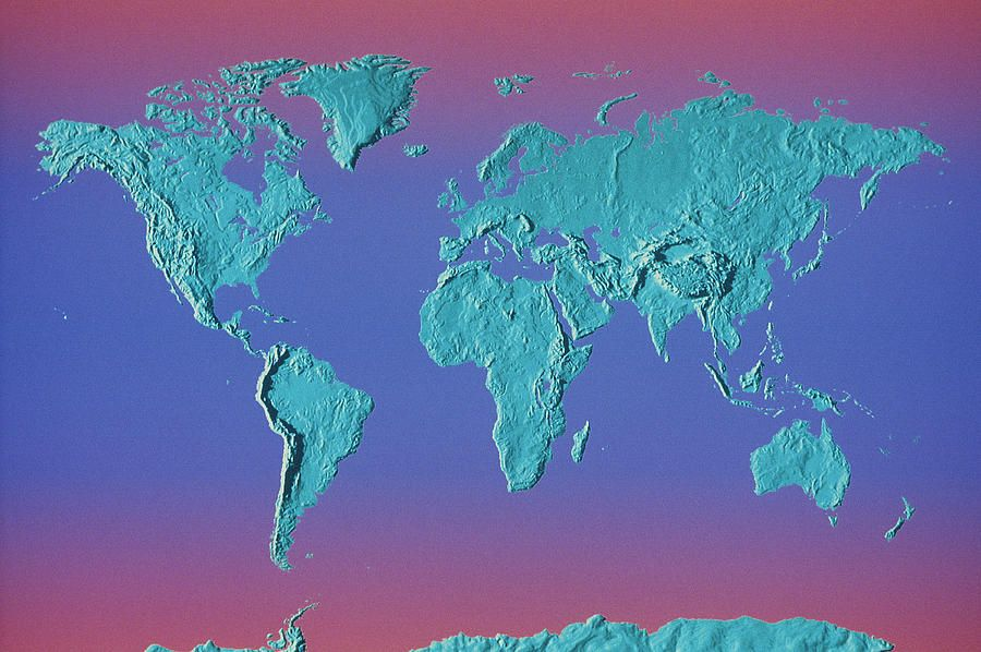 World Land Mass Map Canvas Print