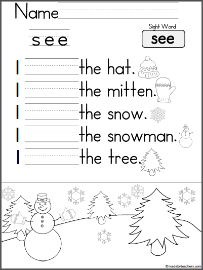 Kindergarten Writing Practice - I See | Free worksheets, Student ...