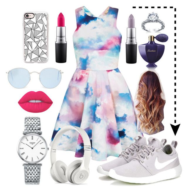 """Colorful Mini Dress💕"" by lara-fashion22 ❤ liked on Polyvore featuring Yumi, Casetify, MAC Cosmetics, Ray-Ban, NIKE, Guerlain, Longines, Beats by Dr. Dre, Lime Crime and cute"