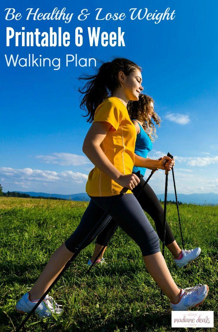 Get fit and healthy by walking more. Get this free printable 6-weeks walking plan