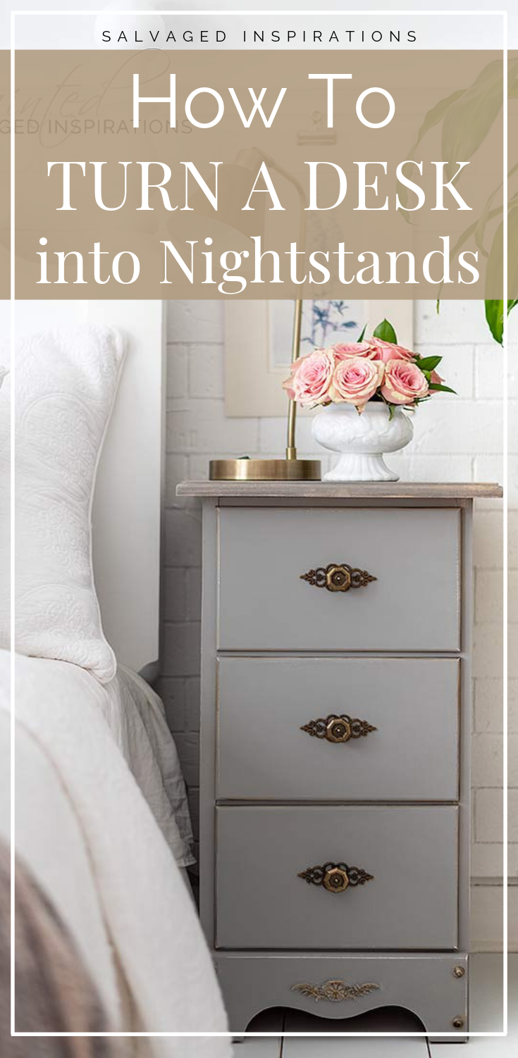 Dated Curbshopped Desk To Painted Nightstands Painted Night Stands Repurposed Desk Distressed Furniture Diy