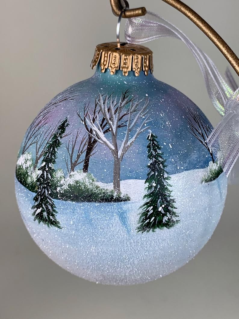 Hand Painted Ornament Two People Walking Through Snow Etsy Handpainted Christmas Ornaments Painted Christmas Ornaments Blue Christmas Ornaments